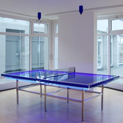 One of Hans Kotter's many cool light sculptures: a neon-infused ping pong table with blue oil IV.