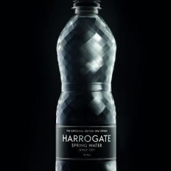 New 'Diamond Bottle' packaging from British premium bottled water brand, Harrogate Spring Water. Designed by Thompson Brand Partners.