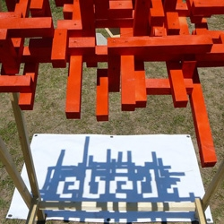 As part of the Hello Wood Festival in Budapest, a group of Hungarian university students created a wood sculpture whose shadow spells out the word 'ebéd' (lunch in Hungarian) at precisely 1pm.