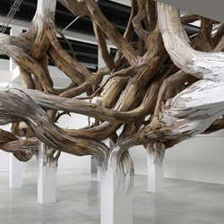 Baitogogo by Brazilian artist Henrique Oliveira is an installation at the Palais de Tokyo in Paris where the sculpted wood forms transform from a grid to a knot.