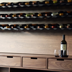 The Henrybuilt wine storage system can be configured in a variety of ways, to store any number of bottles at a precise angle and can be used for either room-temperature storage or for longer-term storage in a conditioned environment.