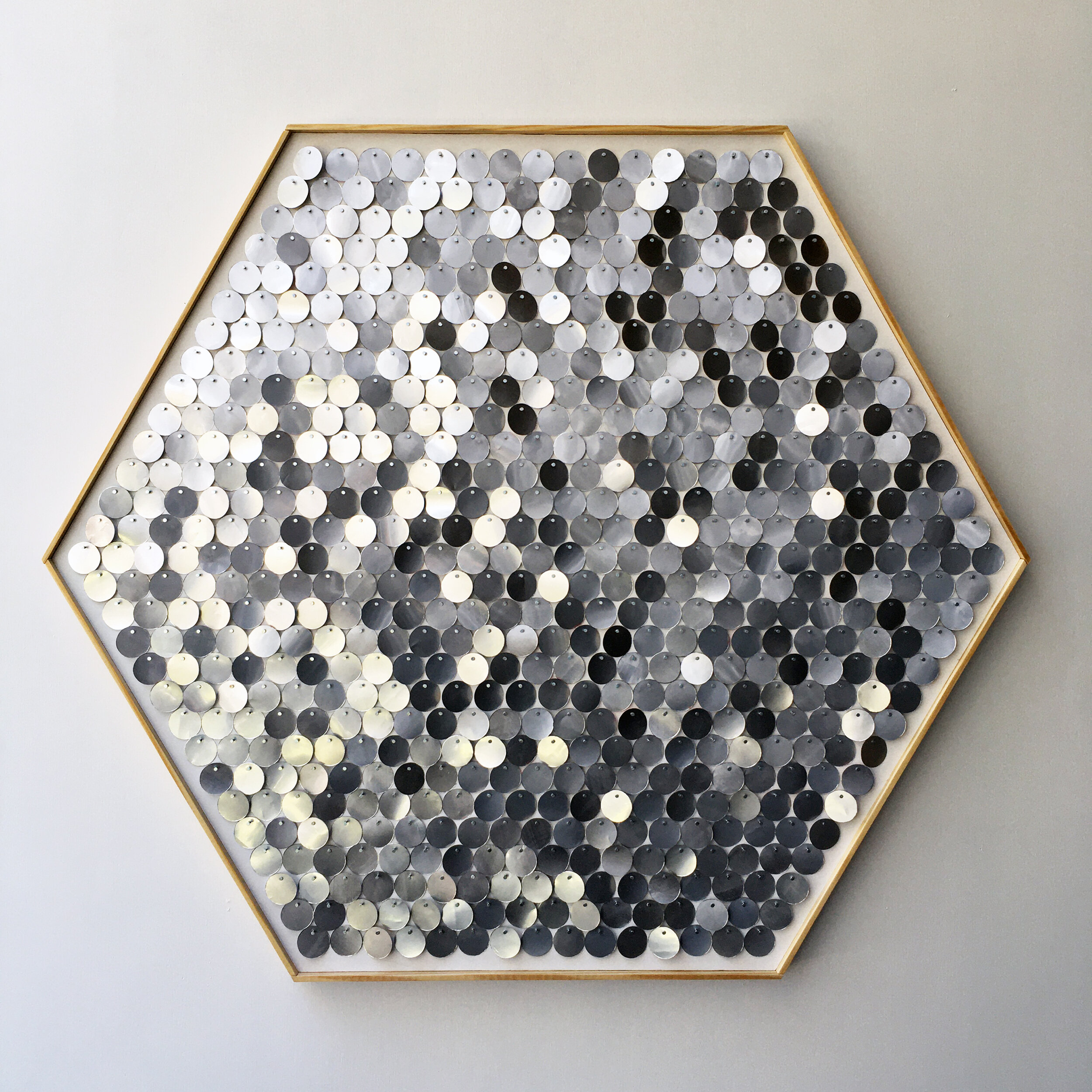 Hannah & Nemo's Upcycled Moving Mosaic Hexagons -   Created as an homage to nature, evocative of honeycombs and snowflakes, the moving discs change color throughout the day or season, reflecting their surroundings in soothing shades of grey-blue.