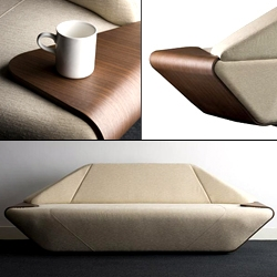 'Hex' sofa  designed by Nosigner. Plywood edges act as tray/tables.