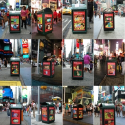 During August on Times Square trash cans, Hidemi Takagi installed 95 photographs of packaged foods from around the world which she purchased in the small shops of New York neighborhoods.