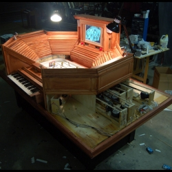 "The ""Hockey Organ"" in which a hacked vintage Casio keyboard controls the action on a table hockey game by Graeme Patterson."