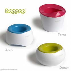 The new potty training chairs from European brand Hoppop have it all: looks, user friendliness, and easy cleaning / 'content' disposal.