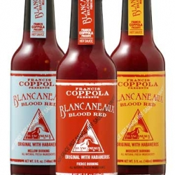 Francis Ford Coppola's new Blancaneaux Blood Red Hot Sauce.    Available in 3 degrees of Heat.