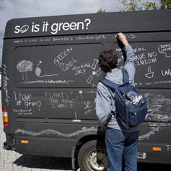 "The environmentally friendly clothing brand HOWIES commissioned Tom Seymour to come up with an idea to make people think. The result was a blackboard van asking the public ""Is nuclear power green or dumb?"""