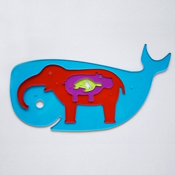 The 'Hungry Animals' ( aka the whale that ate the elephant which ate a hippo which ate a turtle which had eaten a bird ) is a stencil set and small puzzle.