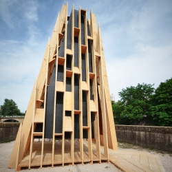 La Hute, a new wooden Building by les etablissements tourneux for the Cabanes festival / Metz / France. A wooden bell and small mechanical music box playing Prokofiev's Peter and the wolf.