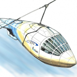 Fascinating travel concept. The bit in the water is for stability, the kite is propulsion.