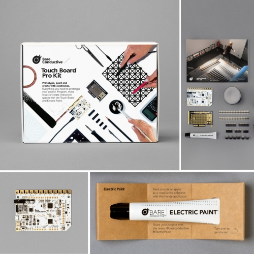 The Bare Conductive Touch Board Pro Kit includes all you need to make everything from interactive wallpaper, innovative musical instruments to talking murals with the Touch Board and Electric Paint.
