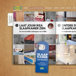 IKEA (Holland) is building the largest virtual showroom on the planet... Now revealing: 'bedroom secrets'. Live webcams offer a glimpse into the bedrooms...