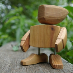 Cute little handmade Wooden Robots with movable parts from Egg + Yolk, made from Cyprus pine off cuts and leftovers.