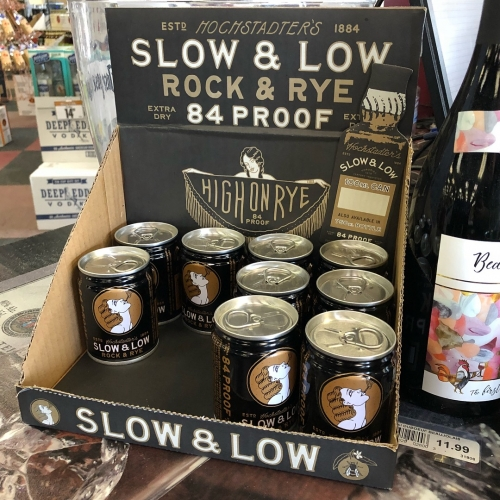Hochstadter's Slow & Low 'Rock And Rye' is 84 proof and can come in the cutest pull tab 100mL cans... Straight RYE Whiskey, Raw Honey, Navel Orange, ROCK Candy & Bitters. Love the packaging!