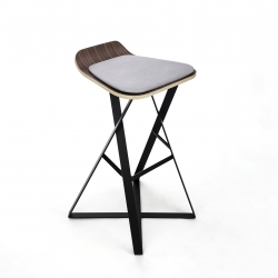 Trestle Bar Stool - an upholstered, bent-ply bar stool inspired by trestle structures in the Pacific Northwest. Designed and built by 2point54.