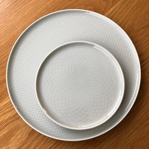 IKEA Krustad Plates - lovely patterns in light grey glossy feldspar porcelain. [NOTCOT photo!]