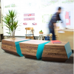 The Boxcar Bench from Revolution Design House. Designed and handmade in Portland, Oregon. The latest in the growing Boxcar series.