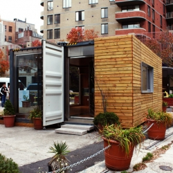 A prefab shipping container home called MEKA has popped up at the corner of Washington and Charles Street in NYC's West Village. Designed by Michael de Jong.