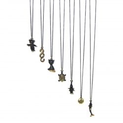 Collection of Walter Bosse's miniatures made into wearable necklaces. Now you can take them with you wherever you go!
