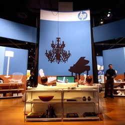 Designers, HP's booth at CES was like a game of 'name that design classic'... such a great use of silhouettes and real furniture... and they really nailed it down to the tiniest details like which toys are on the desks...