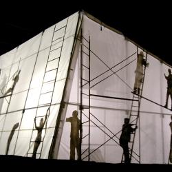An installation by Helen Escobedo presented in public spaces in Zacatecas, México.