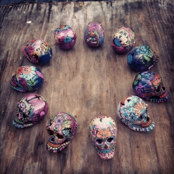 Laughing Souls, hand painted Dia de los Muertos skulls by Brooklyn based artist Rebecca Johnson. Eccentric illustrations, traditional dedications, celebrate a spirit.
