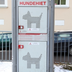 Safetybox for dogs. When you have to run a quick errand at the store and have your dog with you, you can now keep them safe while you shop. Pictured in Oslo, Norway.