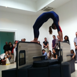 A female gymnast performs on a replica airline seat in 'Gloria', Allora & Calzadilla's show for the Venice Biennale's United States pavilion.