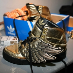 The first close-up shots of Jeremy Scott's new sneakers for Adidas.  Fly baby, fly.