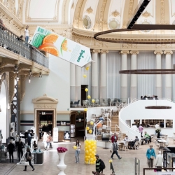 'Dripping bottle' installation by Friendship Antwerp, for Tropicana. Shoppers can catch a 'drop' of Tropicana. If they catch one of the lucky drops, they get free Tropicana for the rest of the year.