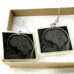 Shrink plastic earrings featuring an MRI of the brain.  New, for the neurology enthusiast!