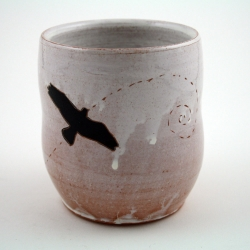 Birds in flight series by ceramic artist, Jenny Hager.  Her works features porcelain and earthenware pottery, incorporating printmaking.