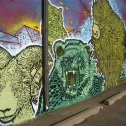 Stencil artists Broken Crow + Over Under depict giant porcupines, bears and rams on a 70-ft. mural in Northeast Minneapolis. Video with soundtrack by the Yeah Yeah Yeahs.
