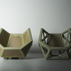 The Collection 'Geometric Simplicity' is made from cardboard. By adding polyester to the cardboard, the furniture is more durable.