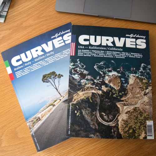 CURVES: Soulful Driving Magazine is dedicated to epic road trips around the world, and filled with maps, stunning photography, and places to check out. Here's a look inside the California and Sicily issues!