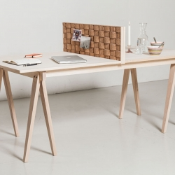 Flétta, versatile and multifunctional maple wood and cork table. From workbench and tablenook to a large dining table! By Guðrún Theodóra Alfreðsdóttir.