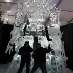 Giant Transformers Optimus Prime ice sculpture.