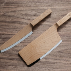 Maple Set by The Federal explores an alternative to everyday kitchen knives. Focus is drawn to the high polished blade, while the maple wood body of the knife sits warmly in the hand, blending into its surroundings.