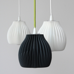 Lamp shades by Martin Zampik are inspired by visual appearance of heat-sinks visible for example on industrial lamps or nowadays on LED bulbs. 3D printed and designed to work with IKEA cord set SEKOND.