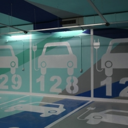 Teresa Sapey designed a cartoon-like parking garage in Valencia, Spain, where graphics is the key to find where you've left your car.