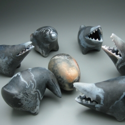 Set of new ceramic monsters made by Eva Funderburgh, presently on display in Port Townsend, Washington.