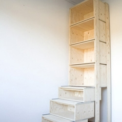 Danny Kuo's  StairCASE is designed for the average human height - 1.8 meters. Can't reach? Pull out the bottom storage units to reach the top ones.