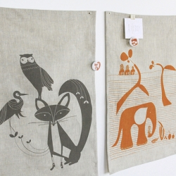 Elephant Safari Linen Tea Towel or Wall Hanging 14x18 / 100% fine grade medium weight linen, screenprinted locally using water based inks. sewn locally