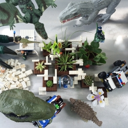 NOTlabs Inspiration: Jurassic World at Target. Dinos! Succulents! Legos! Woody CNC'd planters (yes, Plant Experiment #1 in action + the making of...) See what gets us excited, designing, and playing!
