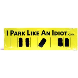 Does anyone else go completely crazy any time they see some idiot parked in two spaces? I drive an impossible car, a lincoln town car, to park,and I still manage! I want 100 of these stickers...