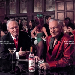 Take a look at this new advertising campaign for Stolichnaya Vodka with famous Playboy tycoon : Hugh Hefner. His two different personalities drink vodka and chat about their lives.