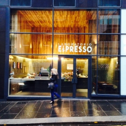Laboratorio Espresso, milanese coffee spot in Glasgow, Scotland by DO-Architecture. The project re-uses construction waste from Stephen Holl's new building for Glasgow School of Art.