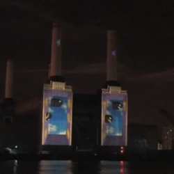 Biggest ever projection on to Battersea Power Station for release of Super Mario Galaxy 2. By Projection Advertising.