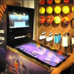 "In Spain, Nike installed a digital pinball for the new campaign ""Write the Future""."
